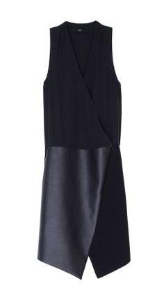 TIBI Leather Asymmetrical Wrap Dress