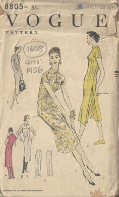 1956 Vintage VOGUE Sewing Pattern B36 DRESS & PANTS TROUSERS (1608)