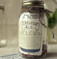 Mini Greenhouse Give a little green for Christmas with a DIY terrarium kit. Slip some small rocks (purchased or from outdoors) into a mason jar. Add a packet of seeds, a small bag of activated charcoal (available in pet stores), and a card with full instructions for assembly.