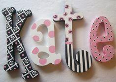 Artículos similares a Custom  Hand Painted Decorative Wooden Wall Letters en Etsy