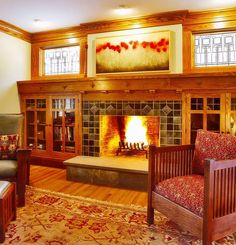 Bookcase: Craftsman Style Built In Bookcase. Craftsman Style Built In Bookcase. Craftsman Built In, Craftsman Fireplace, Fireplace Built Ins, Craftsman Interior, Craftsman Style Homes, Craftsman Bungalows, Tiled Fireplace, Fireplace Design, Fireplace Windows