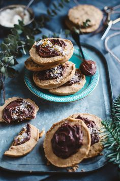 Crumbly Peanut Butter Cookies with Chocolate Ganache and Banana Sugar