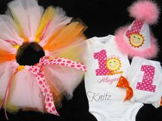 Girls You Are My Sunshine 4 piece Birthday Outfit Tutu Shirt Bloomers Applique Personalized 1st 2nd 3rd 4th Tshirt Toddler Children on Etsy, $79.95