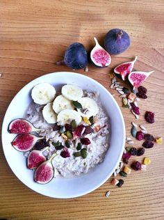 Overnight Bircher Muesli with figs, banana, coconut, cinnamon, mixed berries and seeds