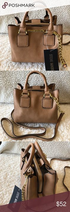 """🌺NWT! STEVE MADDEN TAUPE SATCHEL/XBODY BAG BRAND NEW! AUTHENTIC STEVE MADDEN TAUPE SATCHEL/XBODY BAG-Approximate measurements are 7 1/2"""" W X 7"""" H X 4 1/2"""" D, with a detachable cross body strap with an approximate 24"""" drop, & a handle drop of 4""""....Gold tone hardware.... Steve Madden Bags Satchels"""