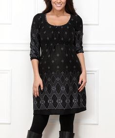 Love this Black Tile A-Line Dress - Plus by  on #zulily! #zulilyfinds