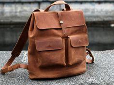 Leather backpack, men's backpack, womens backpack, genuine leather backpack, handmade bag, school backpack, college bag, Bobber Ginger