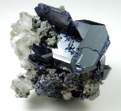Mineral Specimens: Azurite (twinned crystals) with Cerussite from Tsumeb Mine…
