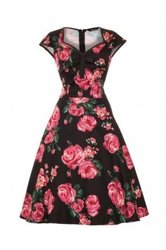 Black and Pink Rose 50s Isabella Dress,,Oh Wow,,,Yes Please.....