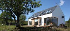 Giant windows, deck, sloped site, classic gable shape, whitewash  - bruchlas-skye-1