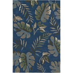 Addison Nassau Tropical Palm Ocean/Multi Plush Area Rug