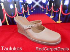 Womens shoes BASS Wedge Slide Mule Clog Tan Beige LEATHER slip-on high heel 9 M