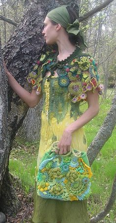 capelet is crocheted; bag is sewn and embellished with freeform crochet; dress is nuno-felted on silk.