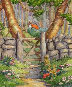 """""""Out of the Pasture and into the Woods Storybook Cottage Series""""  © Alida Akers"""
