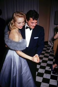Film stars Tony Curtis and wife Janet Leigh at a party held by actor James Manson, Beverly Hills, by Slim Aarons. Hollywood Couples, Hollywood Icons, Golden Age Of Hollywood, Vintage Hollywood, Celebrity Couples, Hollywood Glamour, Hollywood Stars, Classic Hollywood, Celebrity Weddings