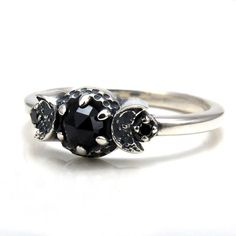 New Moon Crescent Triple Goddess Black Diamond and Black Spinel Gothic Ring by SwankMetalsmithing