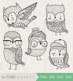 Doodle Hipster Owl Clip Art, Hand Drawn Owl Clipart, Cute Hipster Owls, Cute Handdrawn Owl Clipart, Doodle Owl Illustration, Owl Digistamp