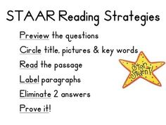 STAAR Reading Strategies 3rd Grade - Allison Mercier - TeachersPayTeachers.com