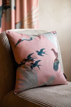 Right-angle lifestyle image of the Blush Pink Birds Print Velvet Cushion Feature Wallpaper, Bird Wallpaper, Print Wallpaper, Blush Pink Cushions, Velvet Cushions, Rockett St George, Chinoiserie Wallpaper, Pink Bird, Seat Pads