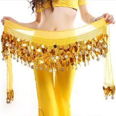 Cinturon Danza del vientre Pañuelo Belly Dance Dorado Arabe 6 Colores