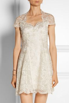 MARCHESA NOTTE Embroidered tulle mini dress | net-a-porter