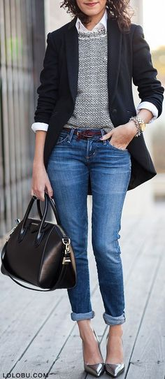 A metallic shoe also works with jeans – dresses them up and makes them look oh so modern.