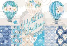 Watercolor hot air balloon by designloverstudio on @creativemarket