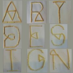 Collage 1, letters gemaakt van chipsfrietjes