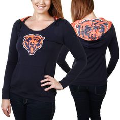 Chicago Bears Women's Sublime Knit Hoodie - Navy Blue - $37.99