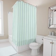 #stripes - #Pastel Mint Striped Shower Curtain