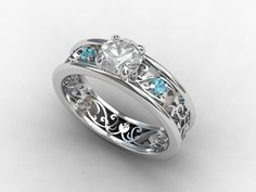 white sapphire ring, Blue topaz engagement ring, filigree ring, vintage style, sapphire engagement, blue topaz, wedding ring, white gold. $1,990.00, via Etsy.