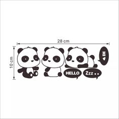 Pandas Wall Decal by Anita Journey These wall decal stickers are adhesive and can be peeled and directly placed on the wall in living room, bedroom, kids room, play room, or bath room. Apply on smooth surface like wall, glass, metal or wood. Pieces can be separate so the placement is up to you. Approximate size: 12 x 4 in