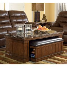 Austin Ancilla Rectangular Coffee Table With Ottoman Underneath