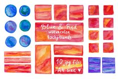 Check out Blue & Red watercolor backgrounds by natsa on Creative Market
