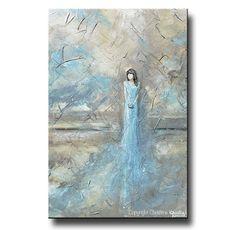 ORIGINAL Art Abstract Figurative Painting Oil Painting Woman Home Decor Wall Decor Textured Modern Art Girl Blue Dress - Christine Krainock