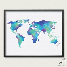 Save 10% Watercolor Map of the World in Blue in sizes up to 24x36, World Map Poster, Large World Map Print, Digital Watercolor Painting