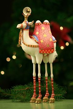 Krinkles by Patience Breswter 09 We Three Kings Camel (Pre-Order Item. Whimsical Christmas, Christmas Mood, Christmas Tree Ornaments, Christmas Crafts, Christmas Decorations, Christmas Ideas, Nutcracker Decor, We Three Kings, Whimsical Art