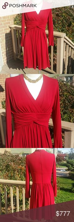 """Red long sleeve Adriana Papell dress Red long sleeve Adriana Papell a line dress. Great condition.  Worn a few times. No rips stains or tears. Measurements laying flat : bust ( armpit to arm pit ) 17.5"""" waist 15"""" hips 24"""" length from shoulder to hem 39"""". Lined on top portion she'll 67% rayon 29% polyester 4% spandex.  Lining 100% polyester.  Reasonable offers welcome and accepted :) Adrianna Papell Dresses Long Sleeve"""