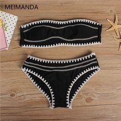 b3e109317a9 Meimanda 2017 new bathing suit women sexy crochet bikini set swimwear Plus  Size Beach Wear Cut Trikini Print Solid swim suit