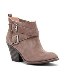 Women's Taupe Suede 3 Inch Stacked Heel Buckle Bootie | Maris by Sole Society