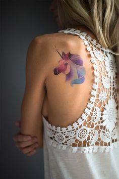 Unicorn temporary watercolor style tattoo by Sasha Unisex. https://www.tattooyou.com/product/sasha-unisex-unicorn/