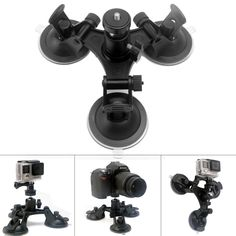Generic Tri-Cup DSLR Camera Suction Mount with Ball Head Suction Cup Mount Car Mount Holder Window Mount