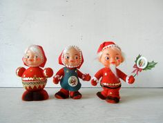 3 Vintage Christmas Kitsch Containers Santa Mrs by PeppermintBark, $15.50