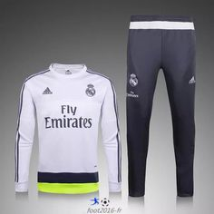 officiel de Nouveau Survetement de foot Real Madrid Blanc 2015 2016 -02 pas cheres