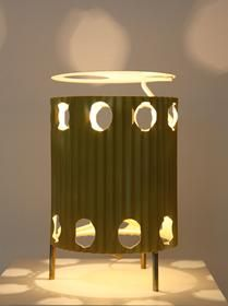 """Mathieu Matégot - Rare lampe """"Java"""", métal laqué jaune, vers 1954"""