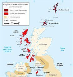 Kingdom of Mann and the Isles-en - Isle of Man - Wikipedia Barra Scotland, Orkney Islands, Irish Sea, Outer Hebrides, St Kilda, Arran, 11th Century, North Sea, Isle Of Man