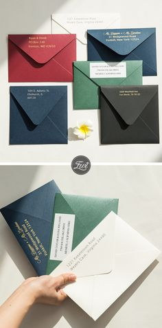 Colorful wedding invitation envelopes for your custom wedding invitation set #EWI #envelopes #weddingcolors
