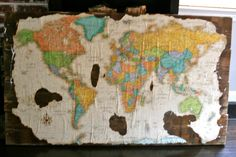 Antique Map on Reclaimed Wood