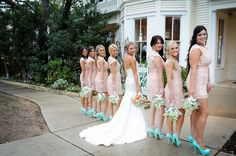Modern Come Vintage Austin Texas Wedding In Baby Pink & Turquoise   Photograph by Click Chick Images