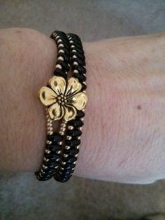 Twin bead wrap bracelet with Tierracast button.: